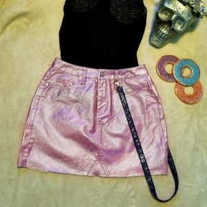 Denim - Glitter Halo Pink Jean Mini Skirt Holographic